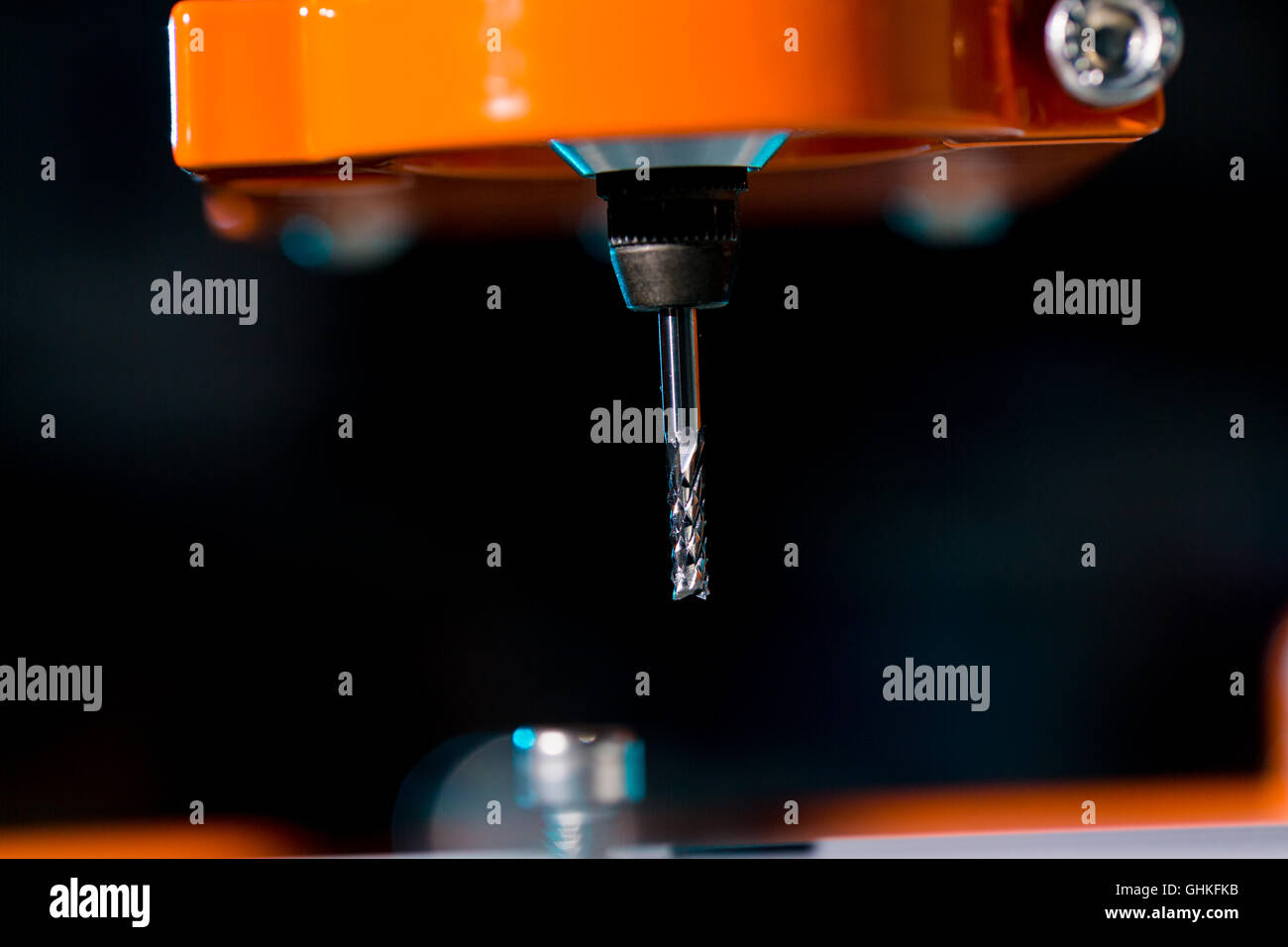 industrial machining cutting process  by milling cutter - Stock Image