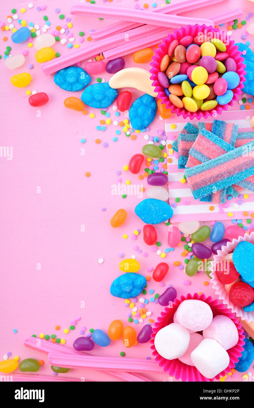 background with decorated borders of bright colorful candy