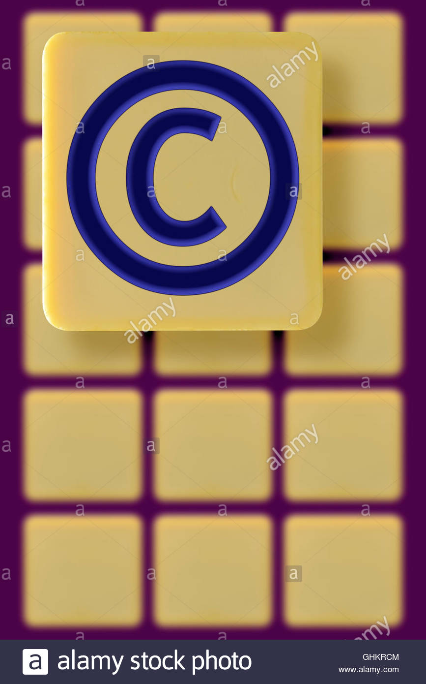 Copyright Symbol On An Alphabet Tile Dorset England Britain Uk