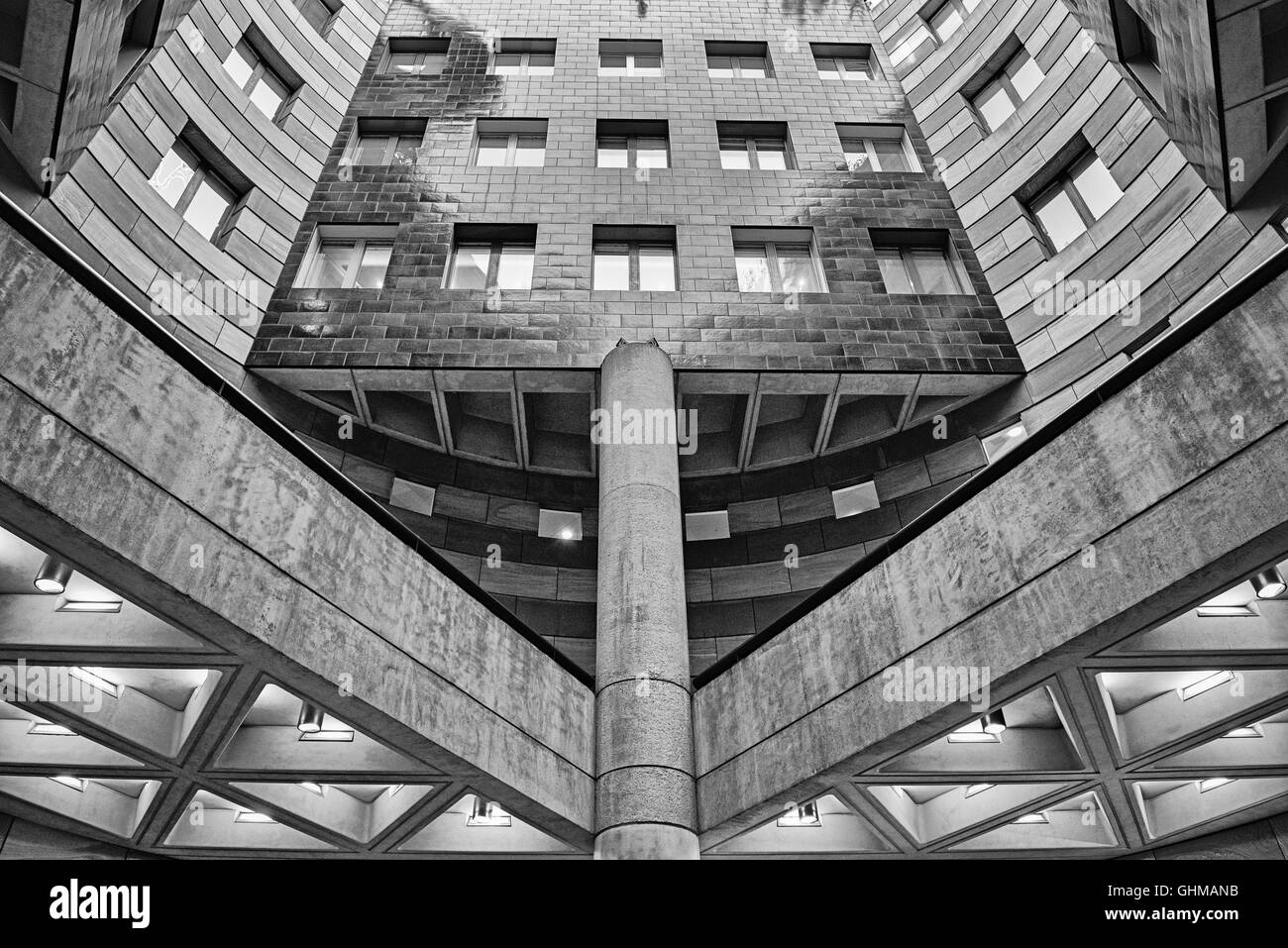 No 1 The Poultry in the Financial District monochrome building London, England UK - Stock Image