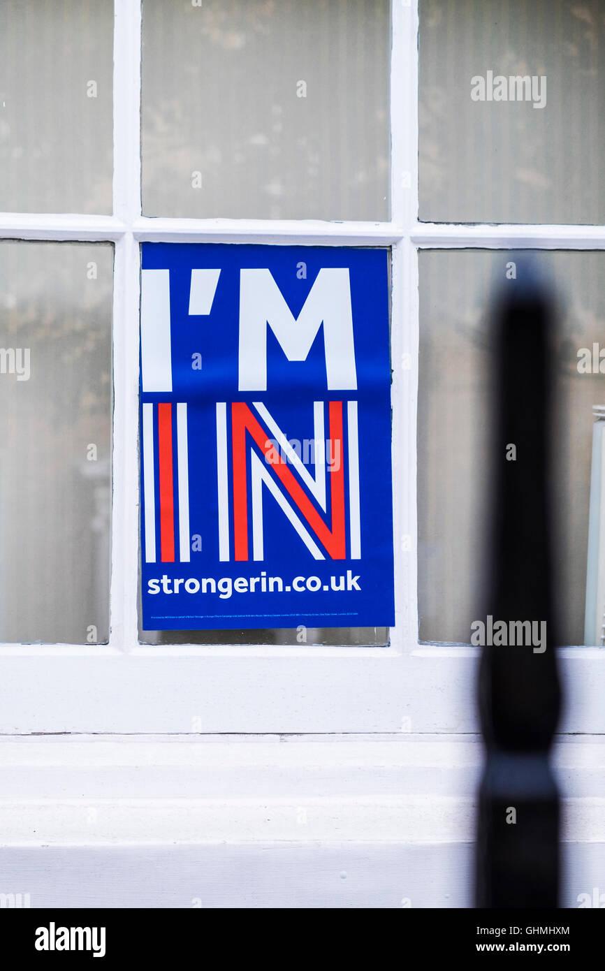 I'm In sticker in window, London, England, U.K. - Stock Image