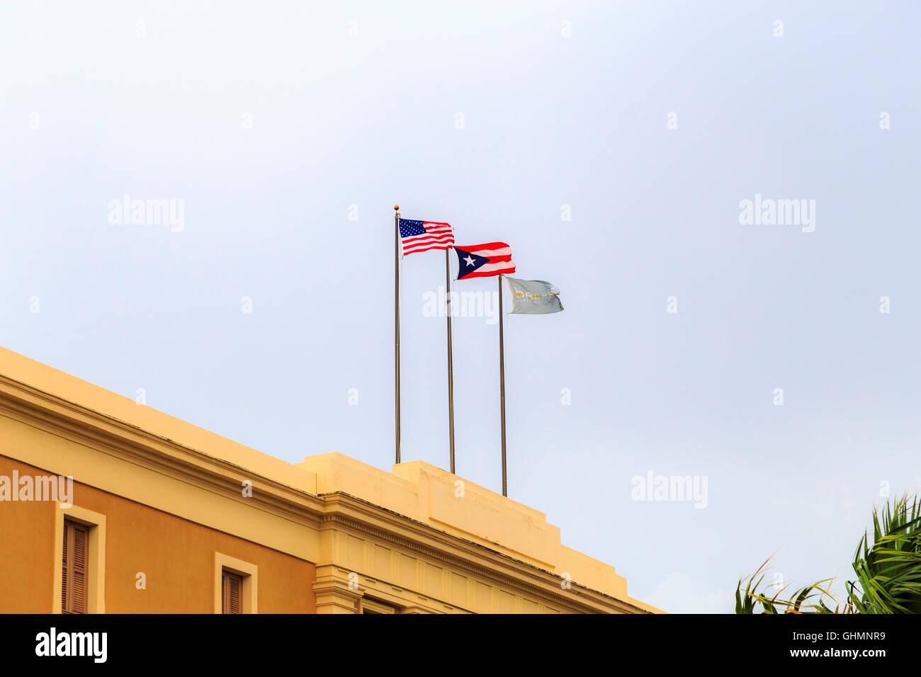 U.S. Flag with Puerto Rico Flag and Ballaja - Stock Image