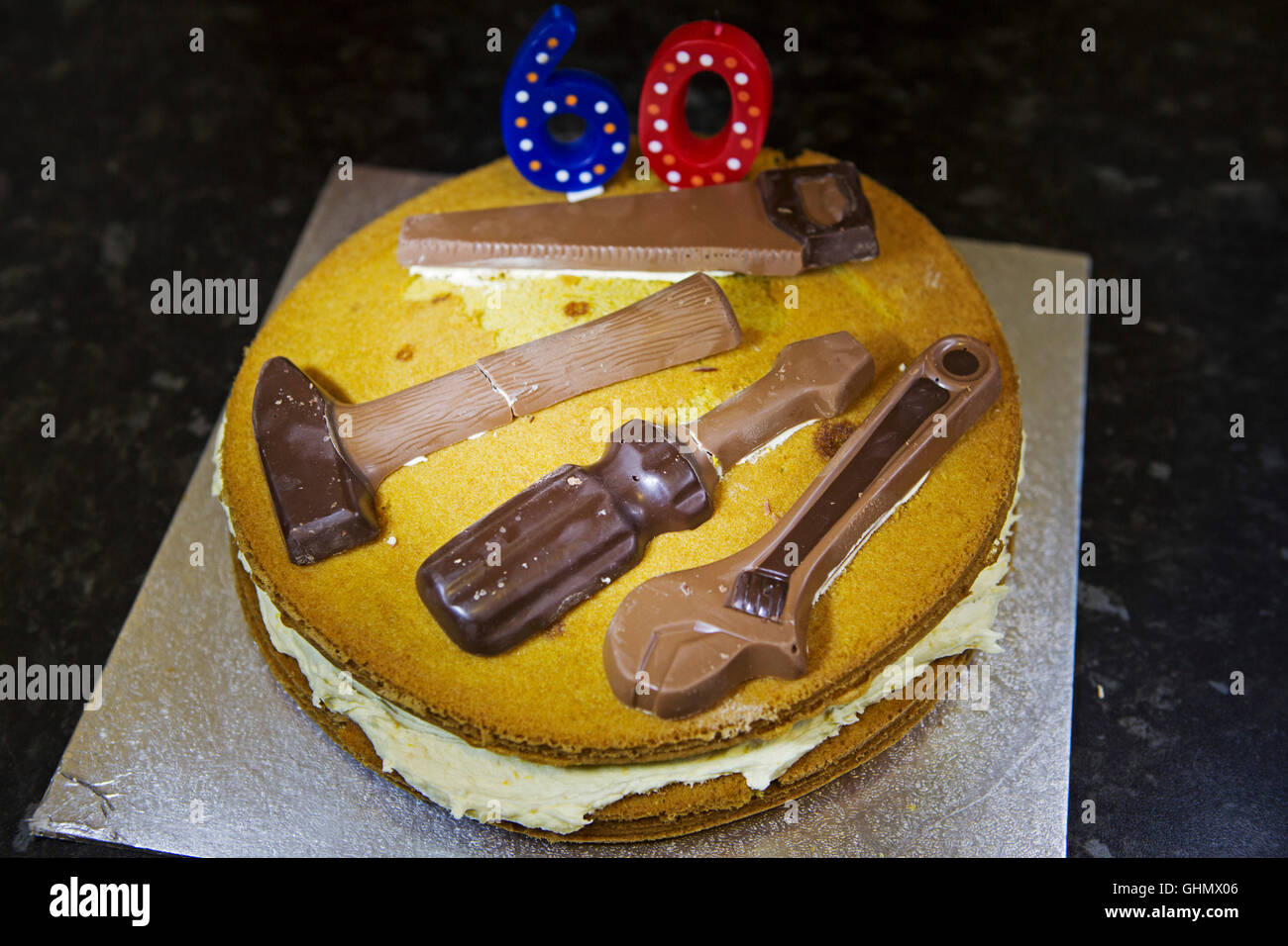 A Home Baked Birthday Cake For 60 Year Old The Features Chocolate Tools