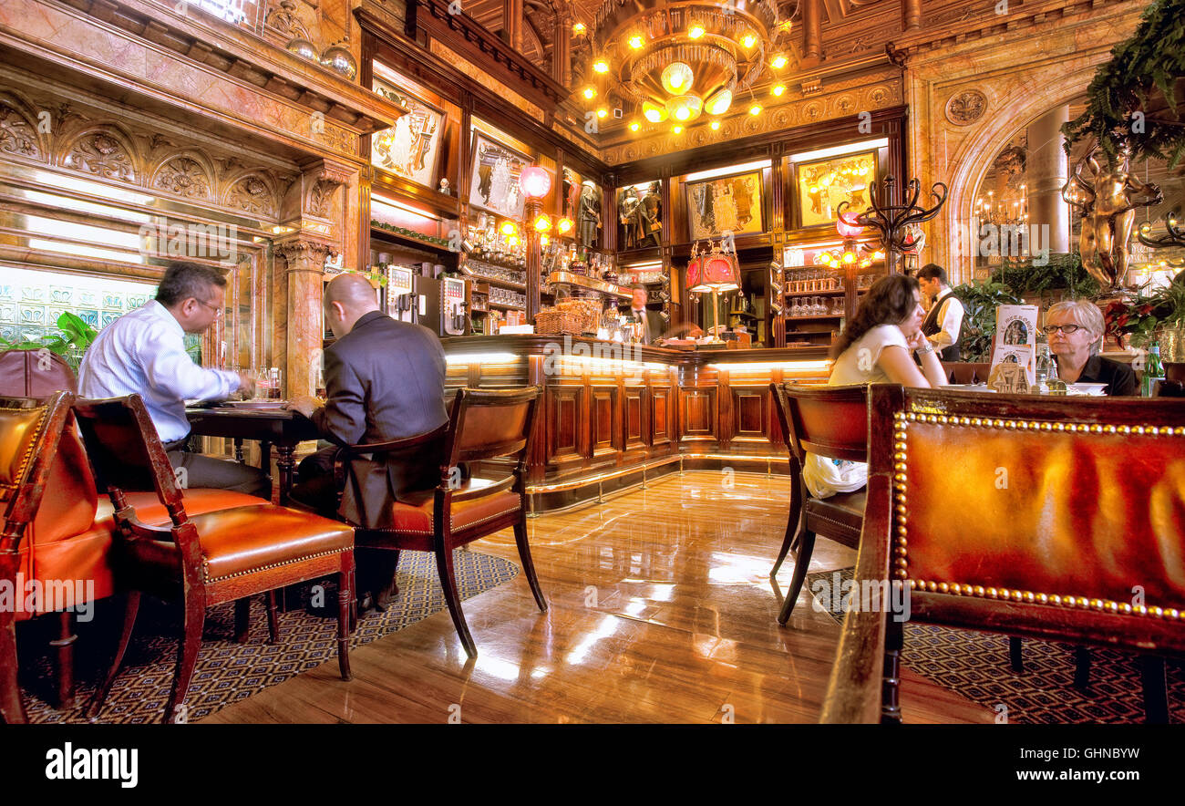 Restaurant of the  hotel Metropole, place de Broukhere, Brussels, Belgium - Stock Image