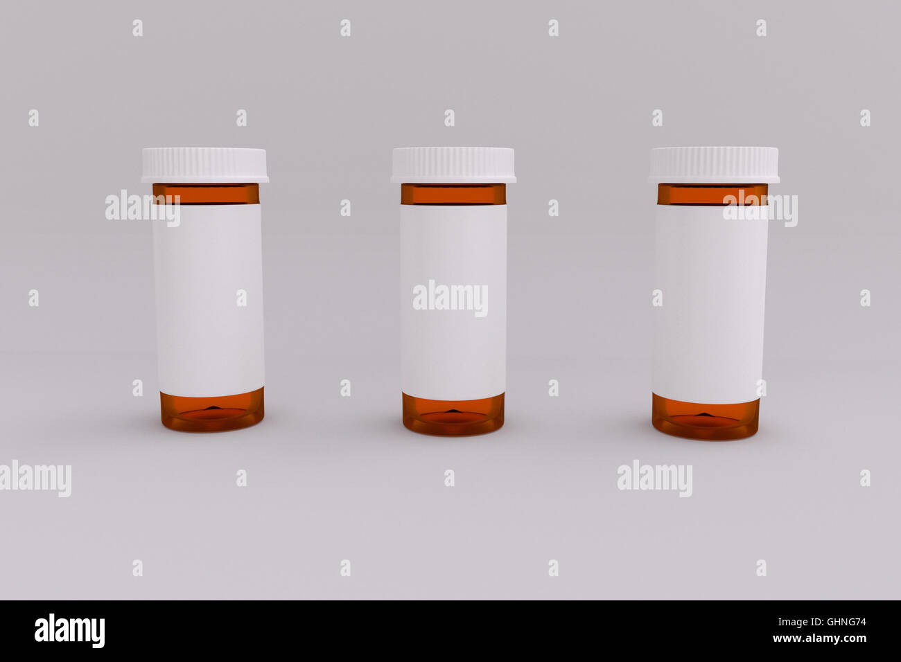 3D rendering of a set of empty labeled medical pill bottle - Stock Image