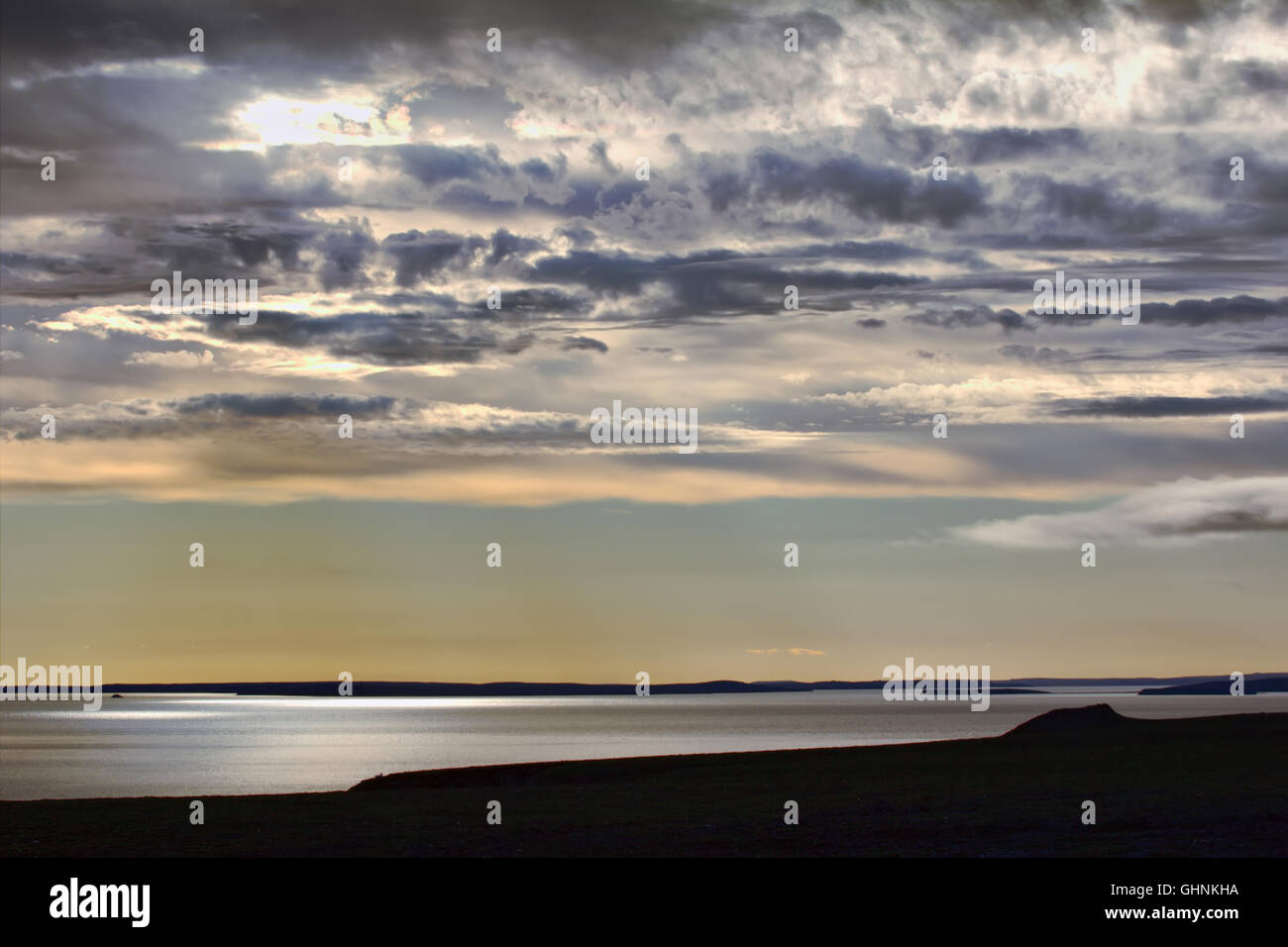 View from South to Bay Chernaya - atomic test site. It is site for surface and underwater nuclear bomb tests. Russian - Stock Image