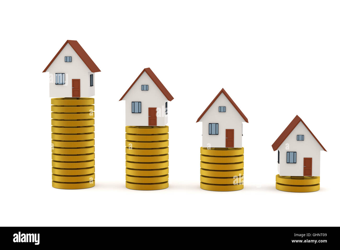 3D rendering of Mortgage concept: Houses on golden coin stacks - Stock Image