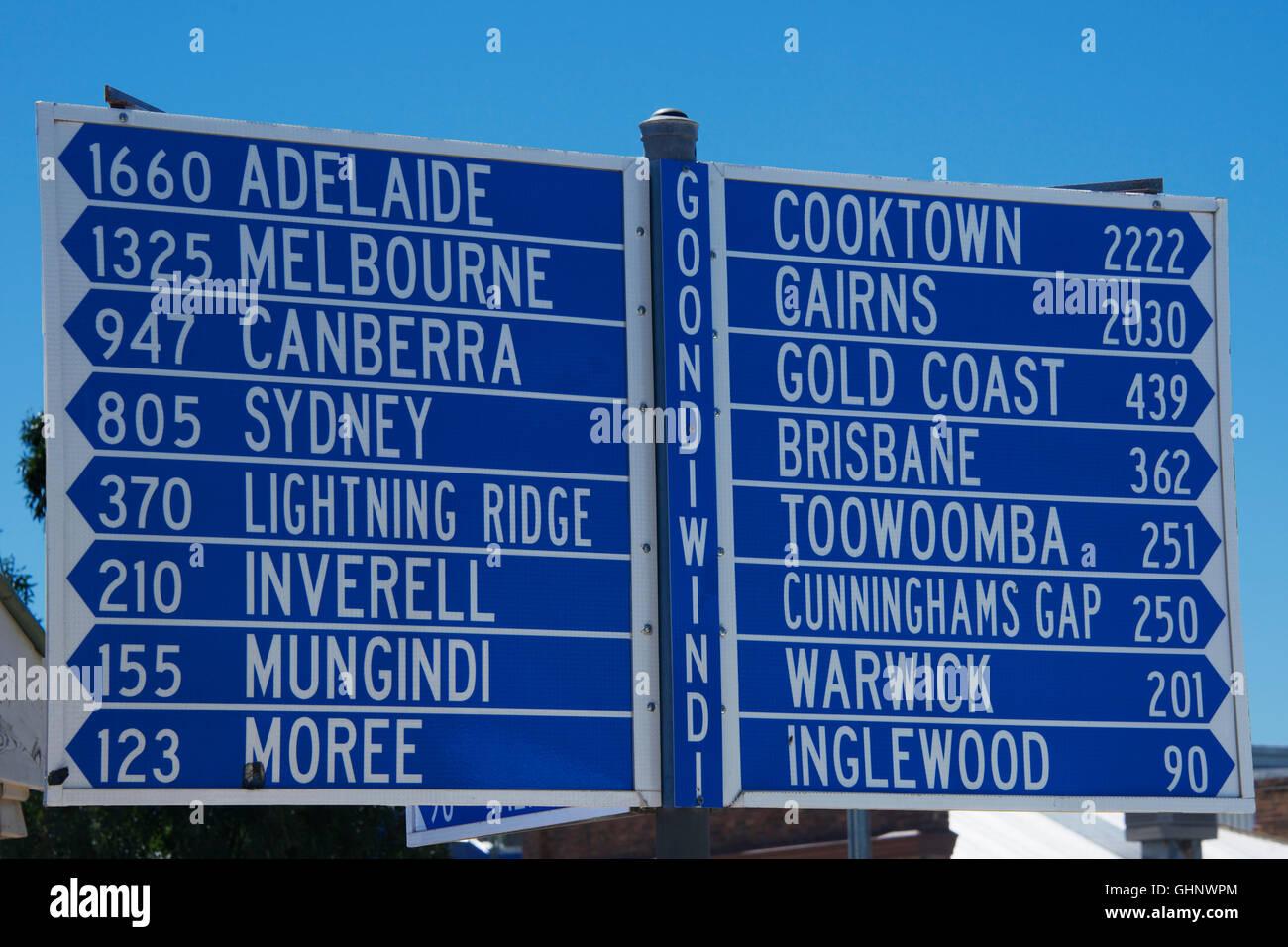 Signpost with road distances Goondiwindi Queensland Australia - Stock Image