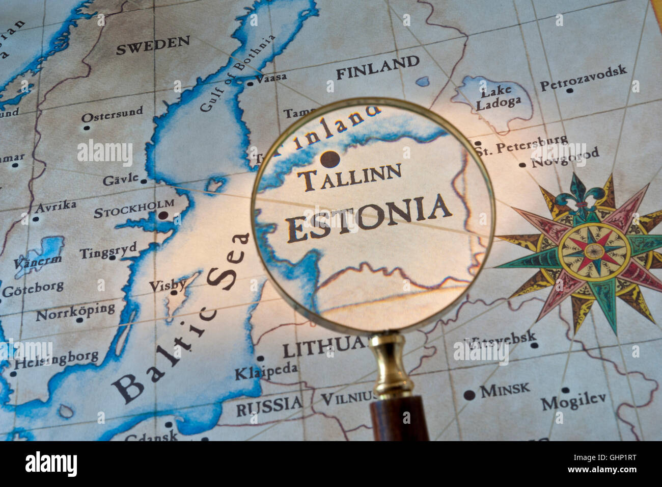 Old style map with magnifying glass over gulf of finland featuring old style map with magnifying glass over gulf of finland featuring estonia tallinn with baltic sea sweden eastern europe gumiabroncs Gallery