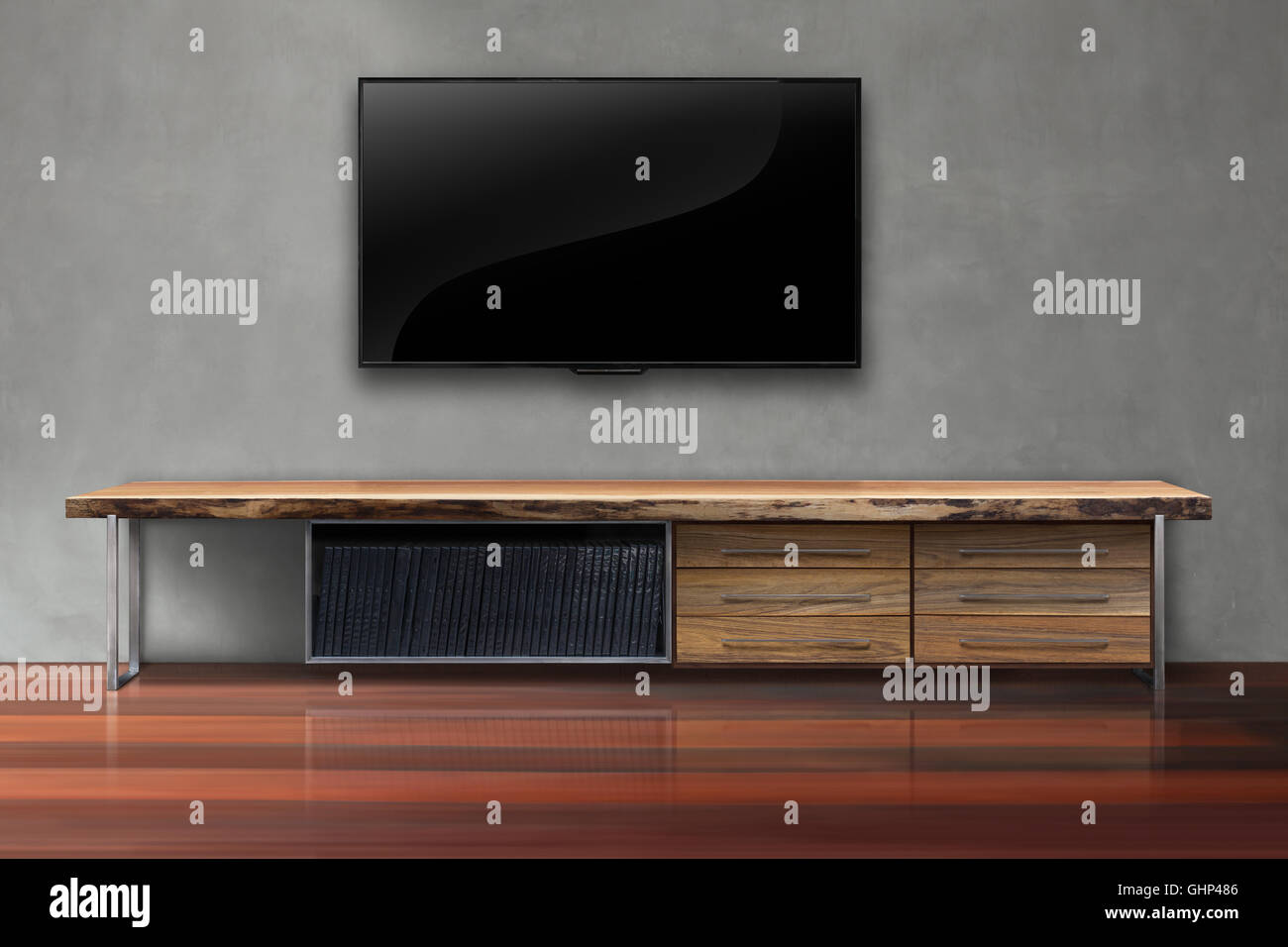 Led Tv On Concrete Wall With Wooden Table Living Room Modern Loft