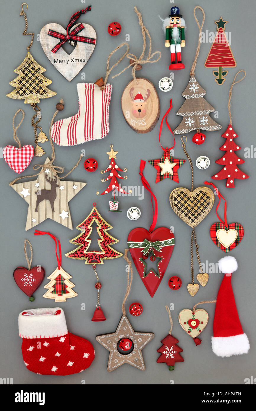 Abstract collection of old fashioned christmas tree baubles and ...