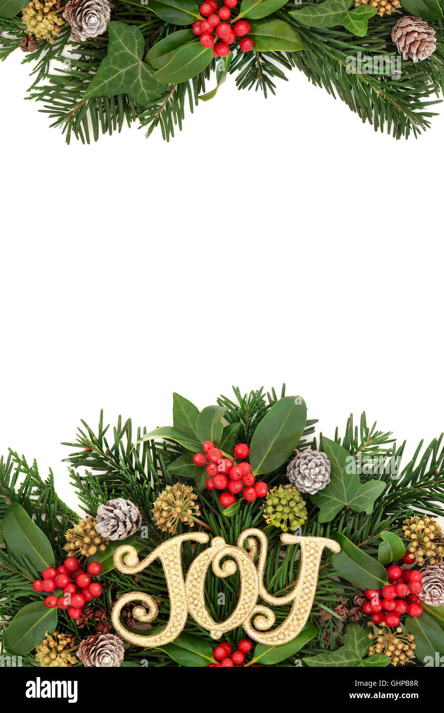 Christmas border with joy sign decoration, flora of holly and Stock ...