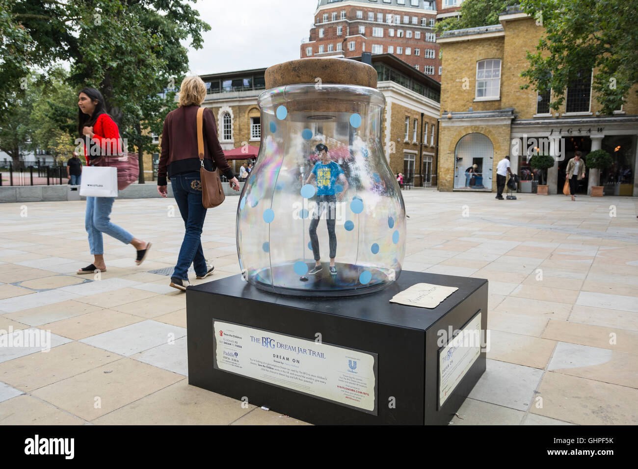 The BFG Dream Jar Trail on King's Road Chelsea outside the Saatchi Gallery, London, UK - Stock Image