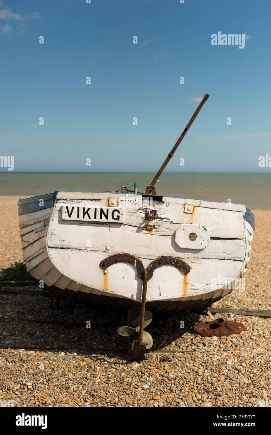 A restored traditional fishing boat on the beach at Aldeburgh Suffolk UK - Stock Image