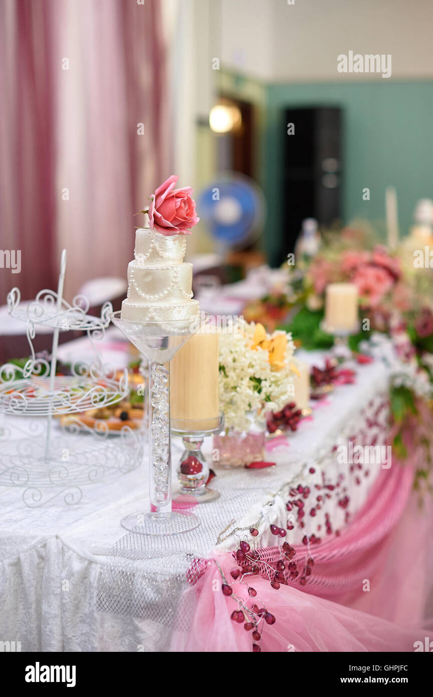 Beautifully Decorated Wedding Table Of Bride And Groom   Stock Image
