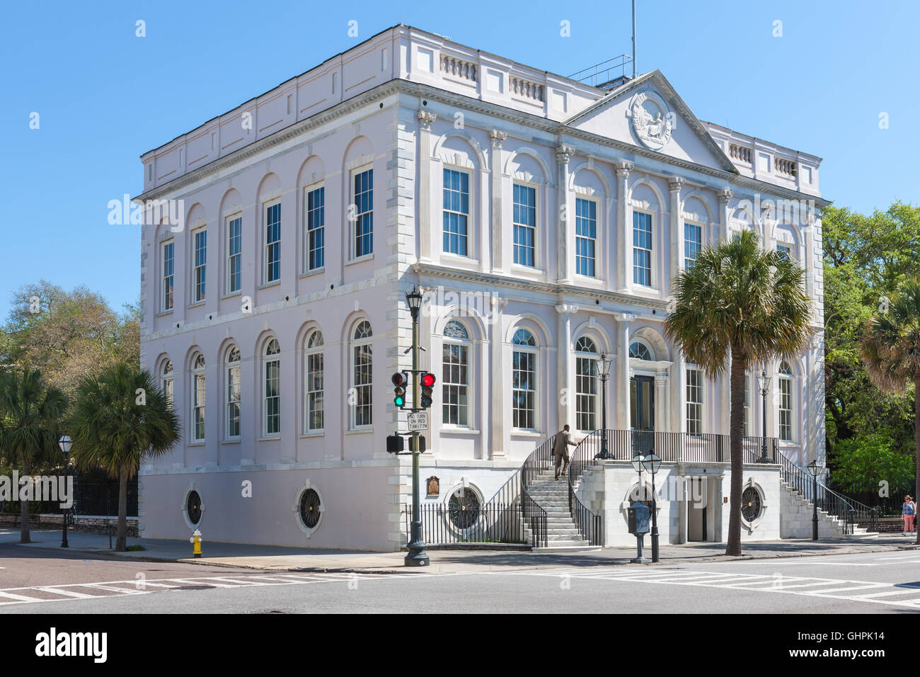 The historic Adamesque City Hall on Broad Street in Charleston, South Carolina. - Stock Image