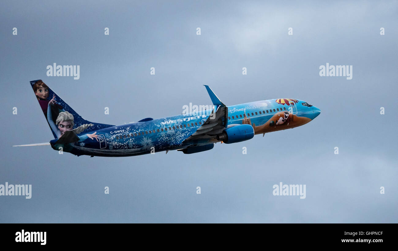 Westjet Boeing 737-800 C-GWSV special Disney 'Frozen' livery - Stock Image