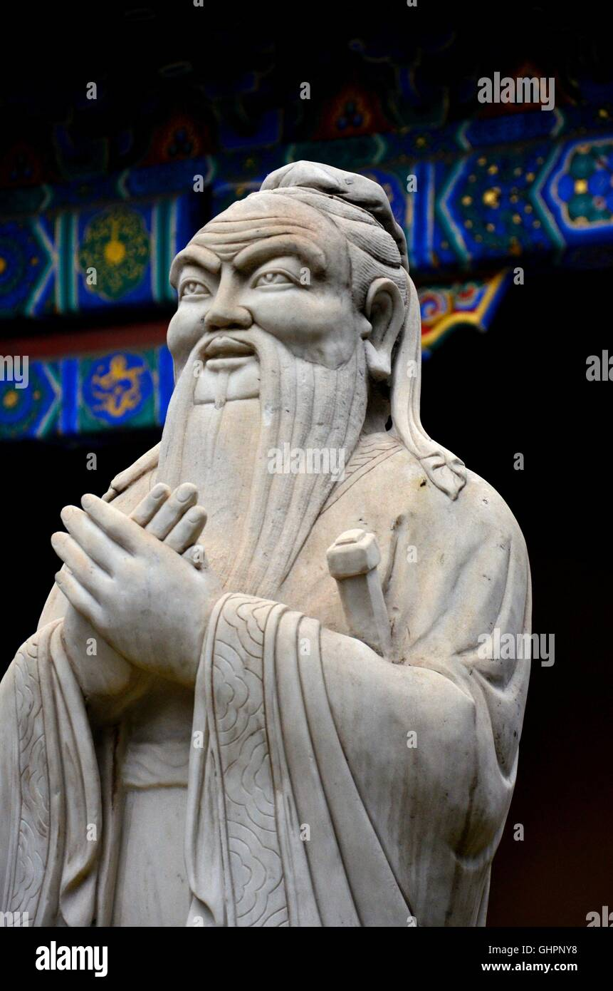 Statue of Chinese philosopher teacher and wise man Confucius Beijing China - Stock Image