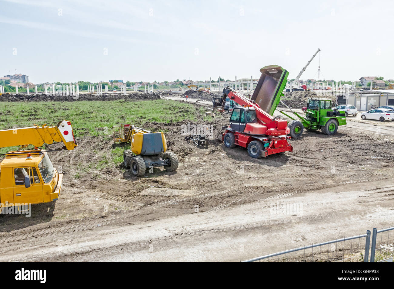 Crane, cherry picker, telescopic forklift and dumper truck