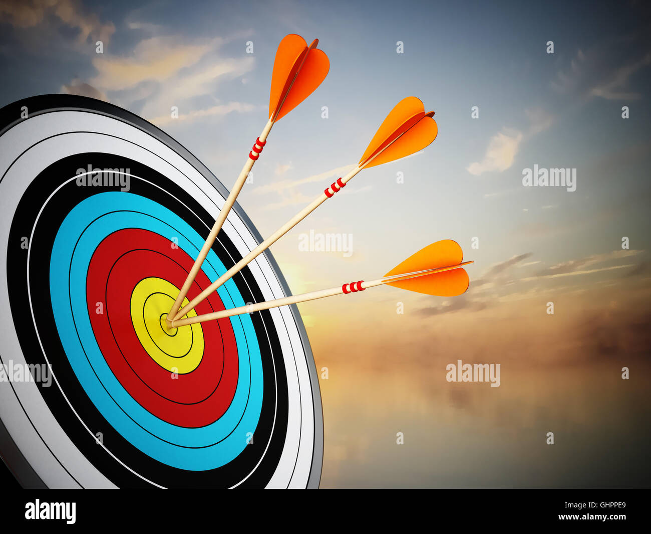 Three arrows hit at the center of the target. 3D illustration. - Stock Image