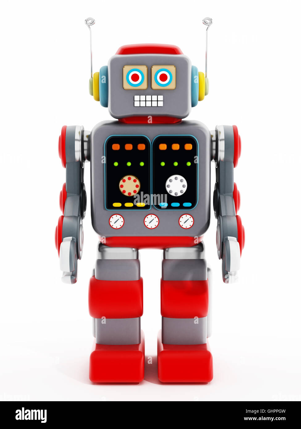 Vintage toy robot isolated on white background. 3D illustration. - Stock Image