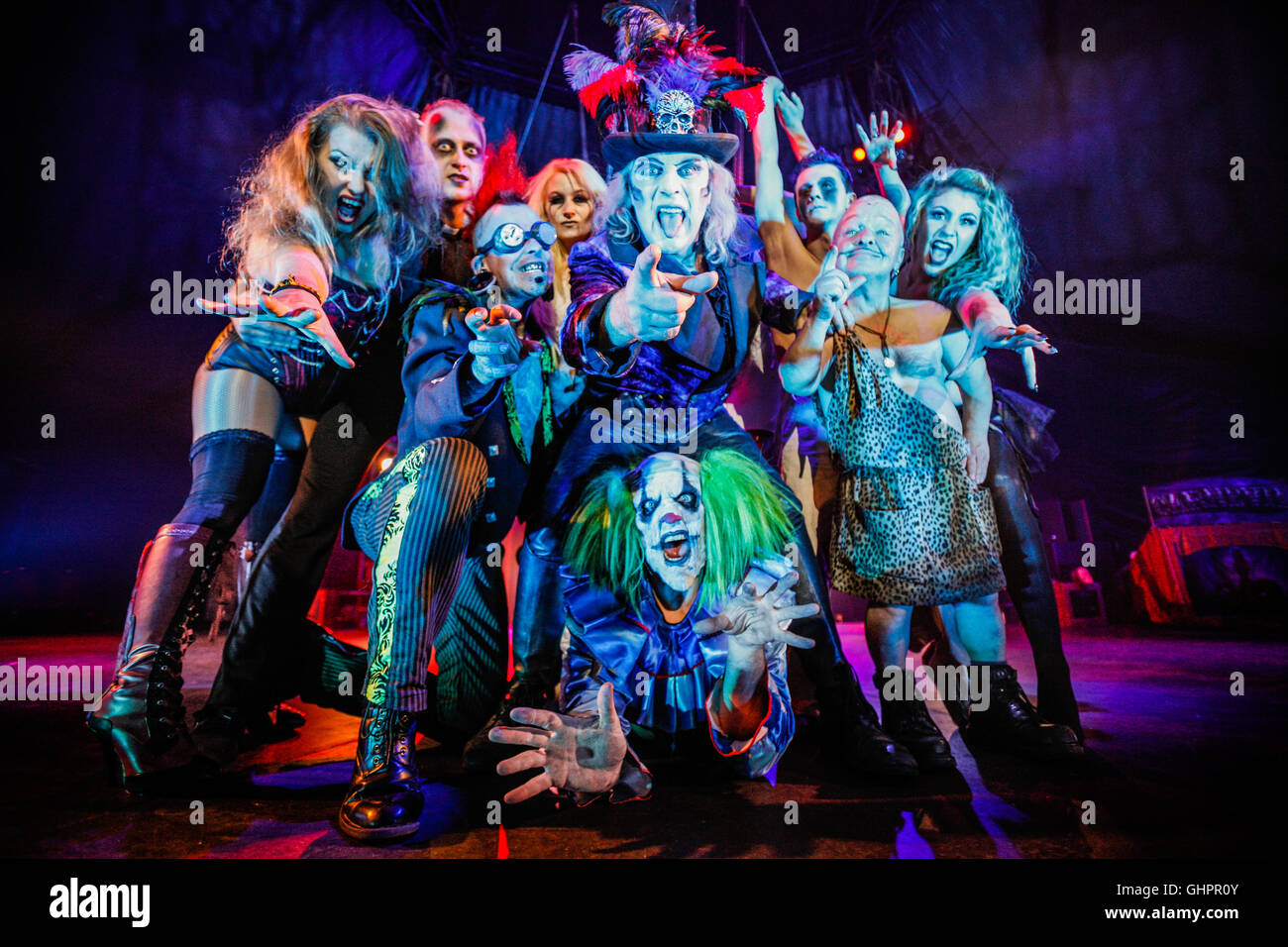Circus of Horrors cast: key performers from the hit show, The Circus of Horrors during their 2015 touring show 'CarnEvil'. - Stock Image