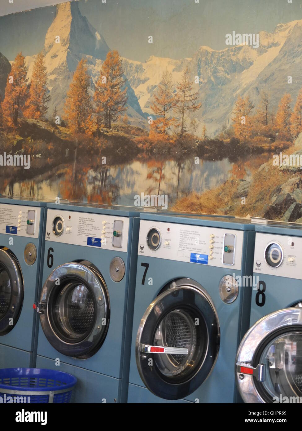 A laundrette with a beautiful background in Copenhagen, Denmark - Stock Image