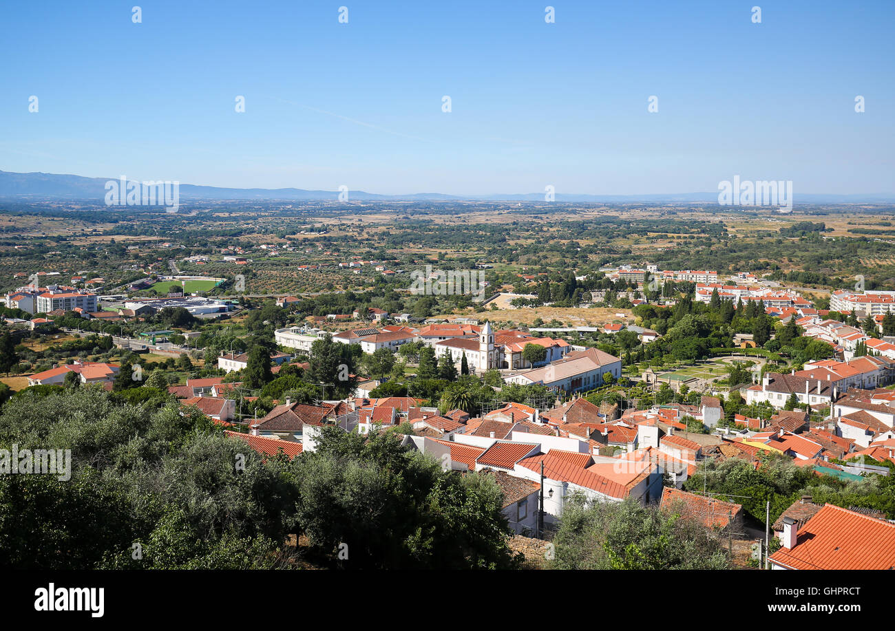 View from the Templars Castle on the the Convent and church of Graca in Castelo Branco, a city in the Centro region - Stock Image