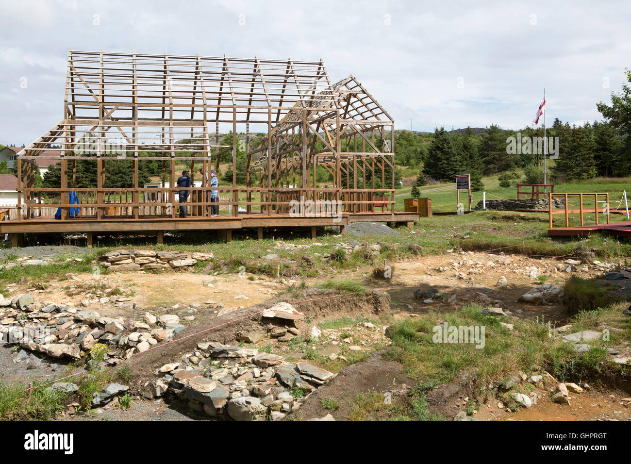 Timber frames outline the buildings that once stood on the Plantation Site at Cupids in Newfoundland and Labrador, Stock Photo