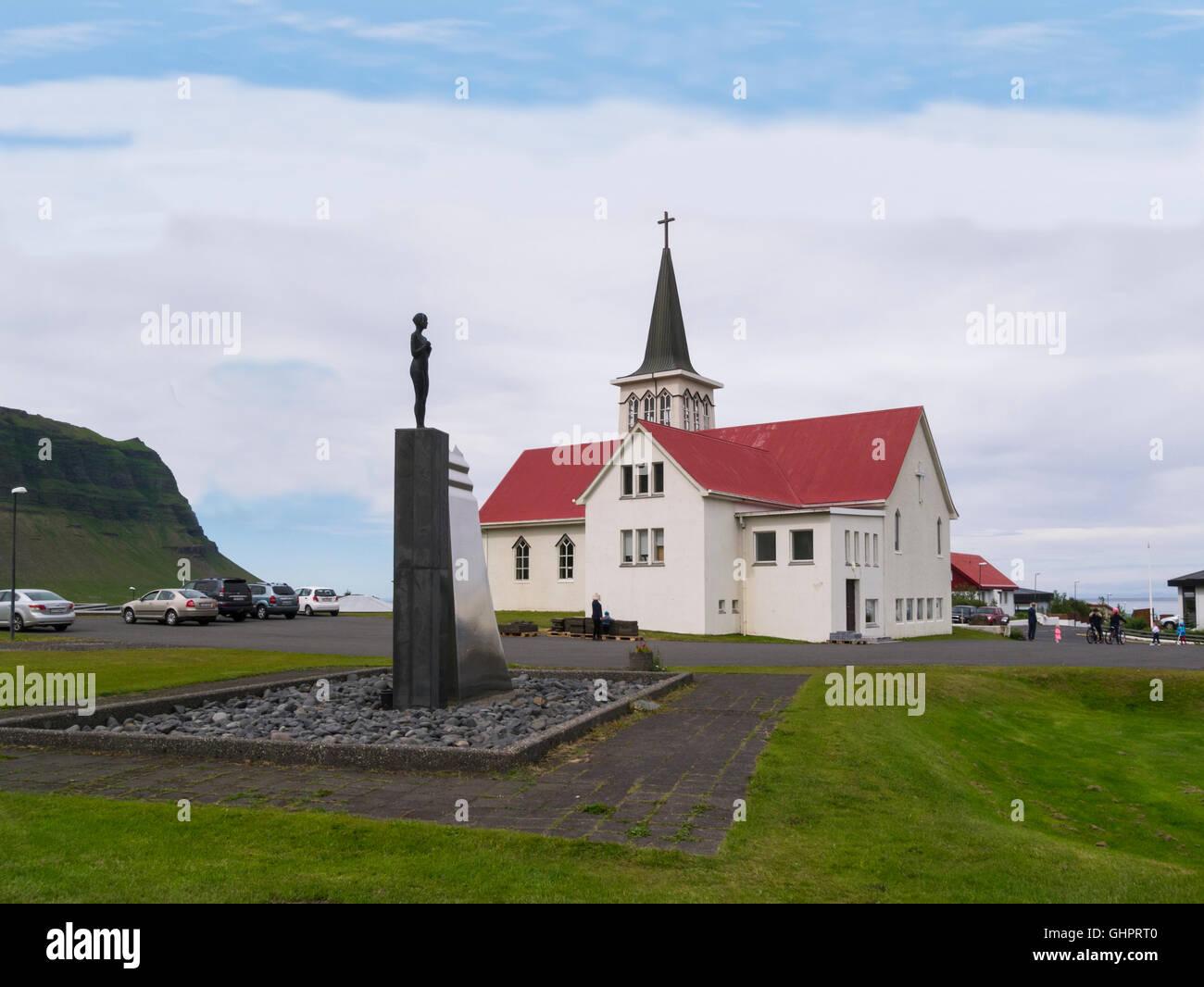 Grundarfjörður church opened 1961Snæfellsnes peninsula Iceland Syn Sculpture - Stock Image