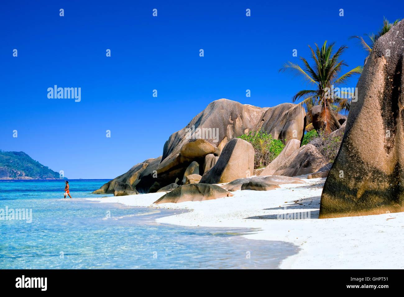 Anse Source d'argent beach at  la Digue island, Seychelles - Stock Image