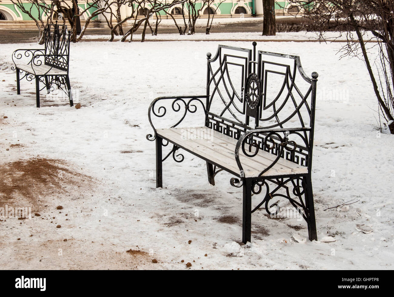 Benches in the Park near Hermitage. - Stock Image