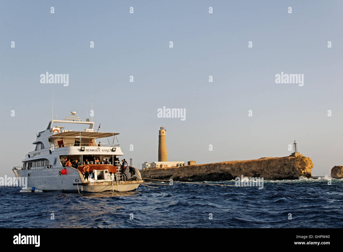 scuba diving Boat on Big Brother, Brother Islands, Brothers, Red Sea, Egypt, Africa - Stock Image