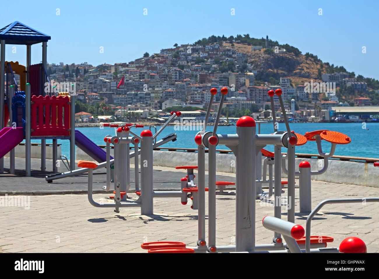 Keep fit equipment on the promenade in Kusadasi Turkey, installed as part of a health initiative by the local council - Stock Image