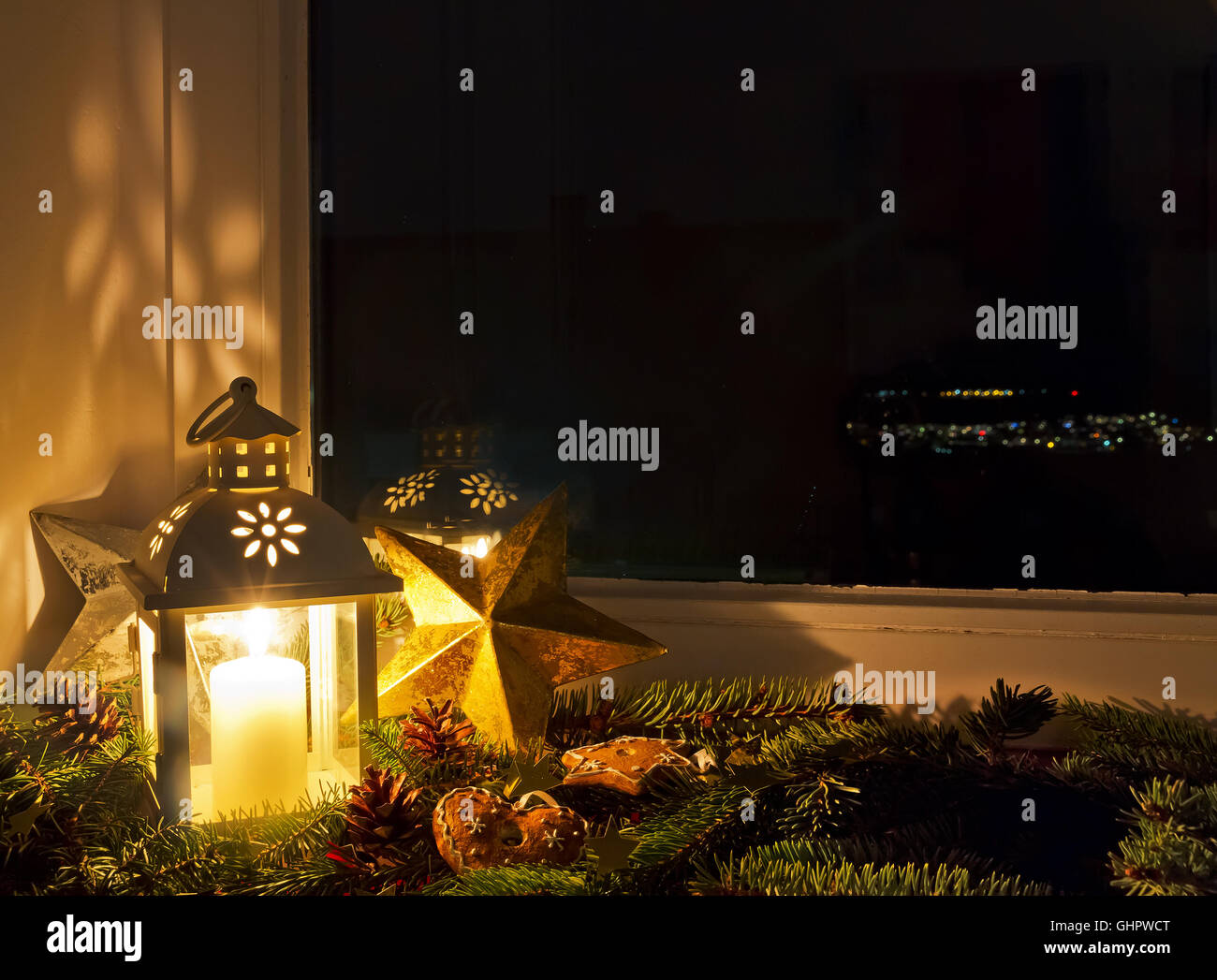 christmas decoration on a windowsill stock image