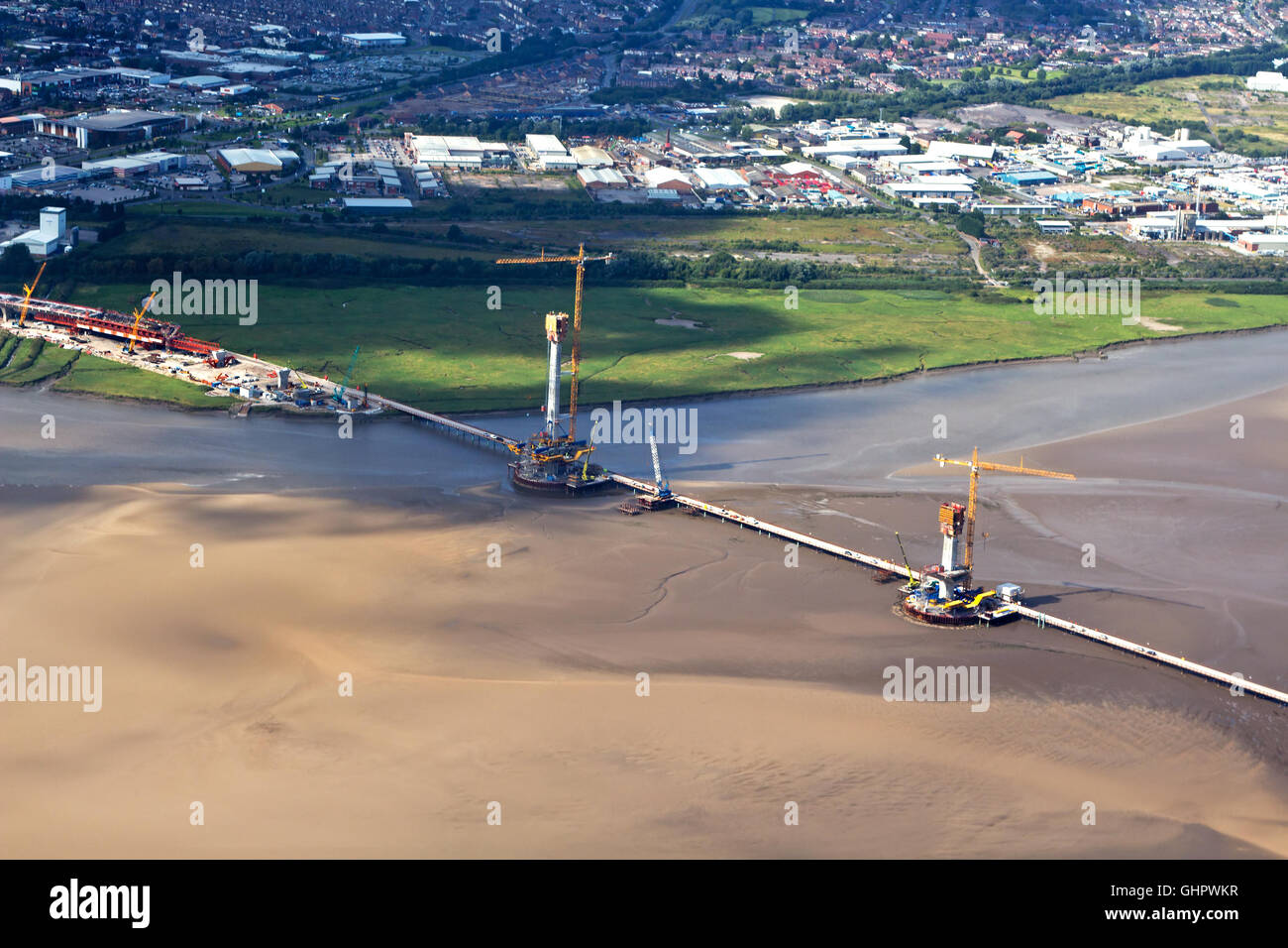 An aerial view of construction work on the new Mersey Gateway Project bridge - Stock Image
