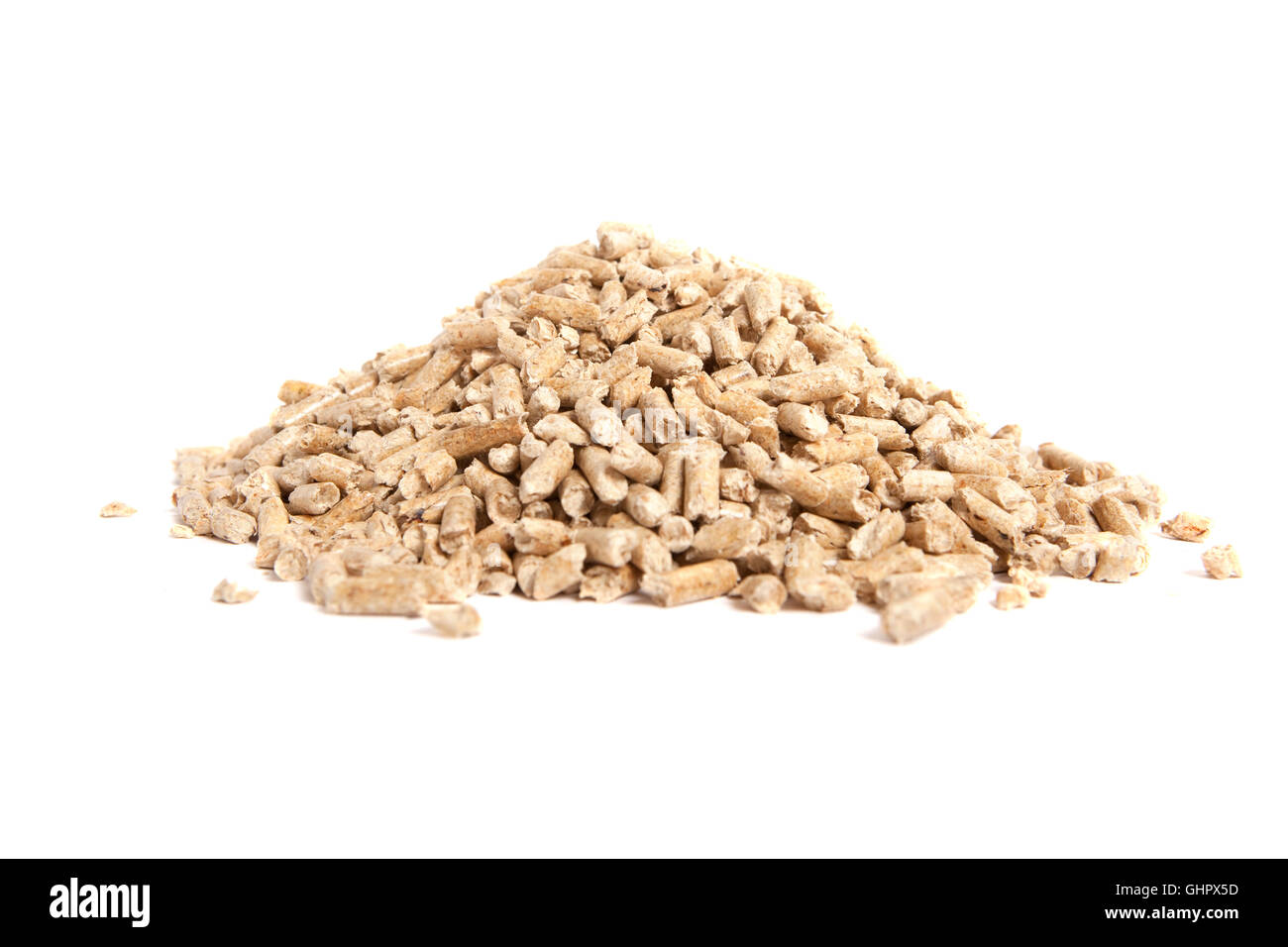 stack of wooden pellets for bio energy, white background, isolated - Stock Image