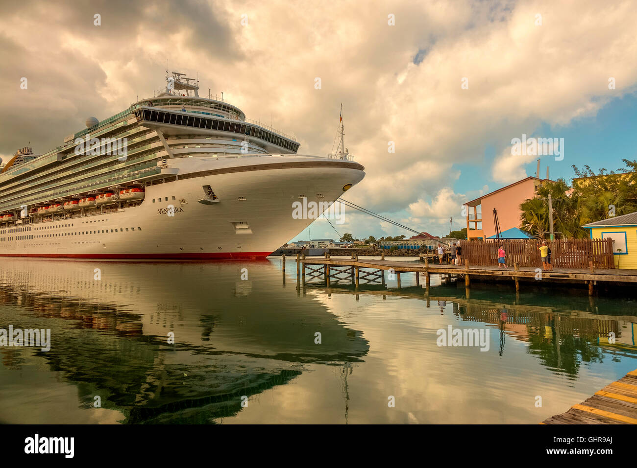 Cruise Ship Tied Up At St Johns Antigua West Indies - Stock Image