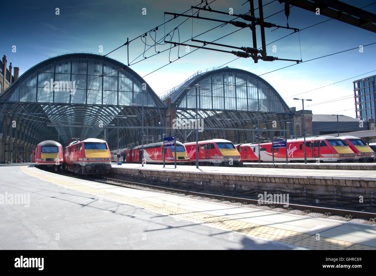 A veritable line up of Virgin Trains East Coast power at London Kings Cross on 20 April 2016. - Stock Image