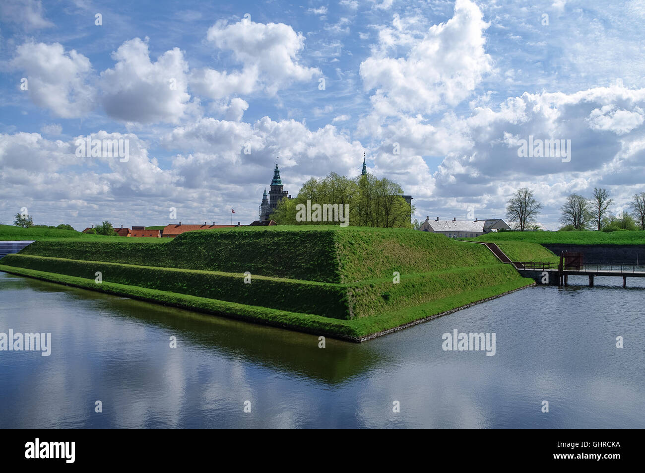 Renaissance castle and fortress of Kronborg, home of Shakespeare's Hamlet. View to moat and walls of the fortress, - Stock Image