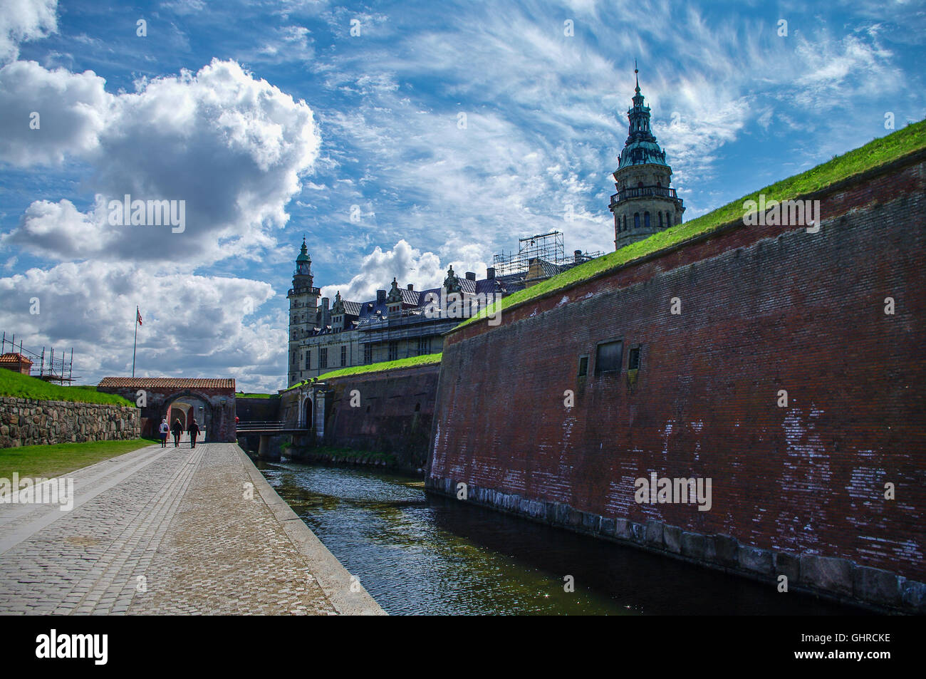 Castle and fortoress of Kronborg, home of Shakespeare's Hamlet. Denmark - Stock Image