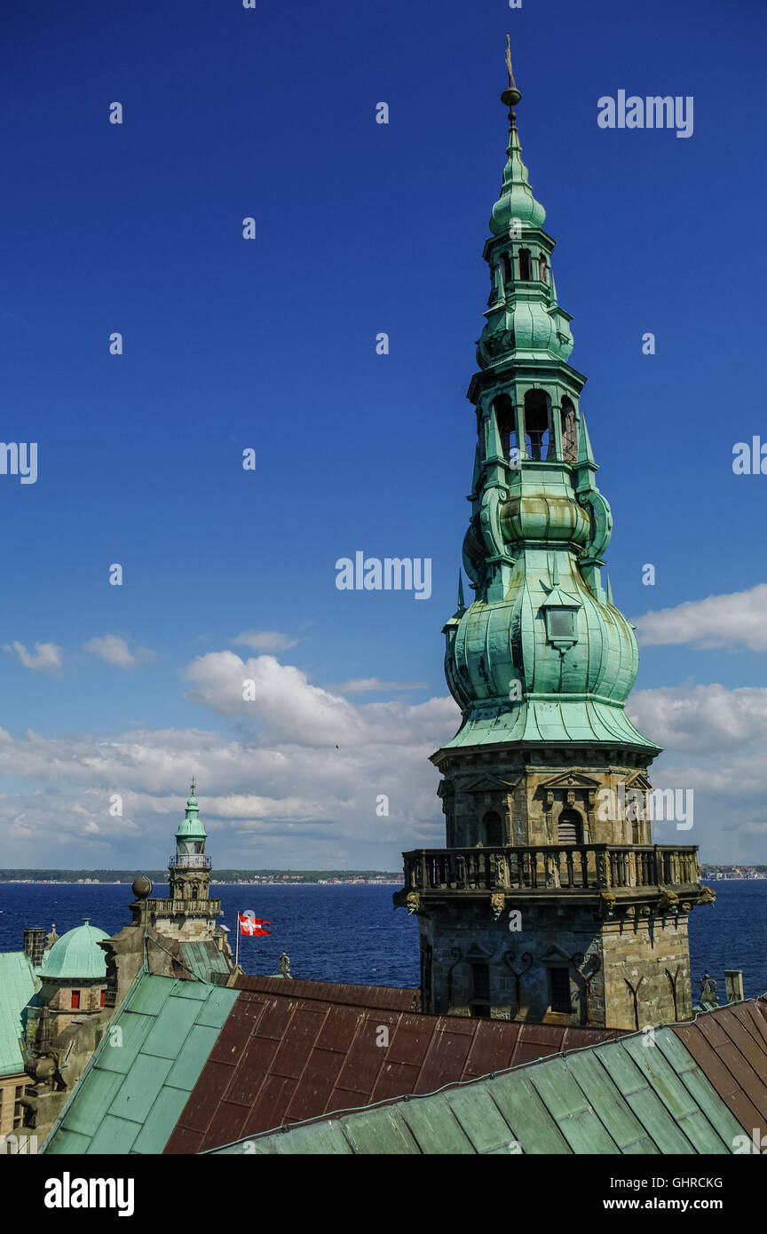 View from roof of renaissance castle Kronborg to Helsingborg city and strait between  Denmark and Sweden. - Stock Image