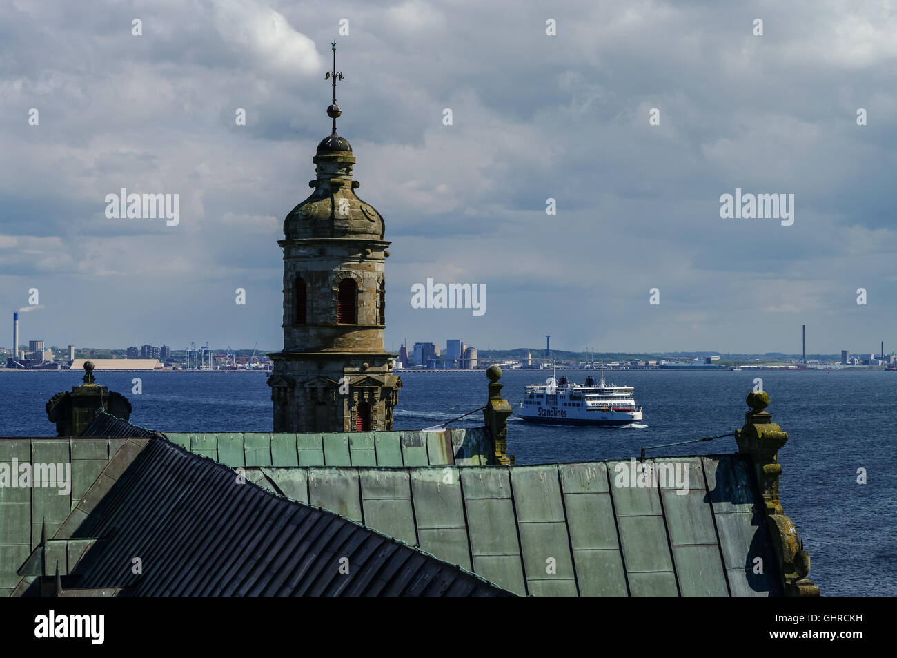 Kronborg , Denmark- 1 may 2011: View from roof of renaissance castle Kronborg to Helsingborg city and strait between - Stock Image