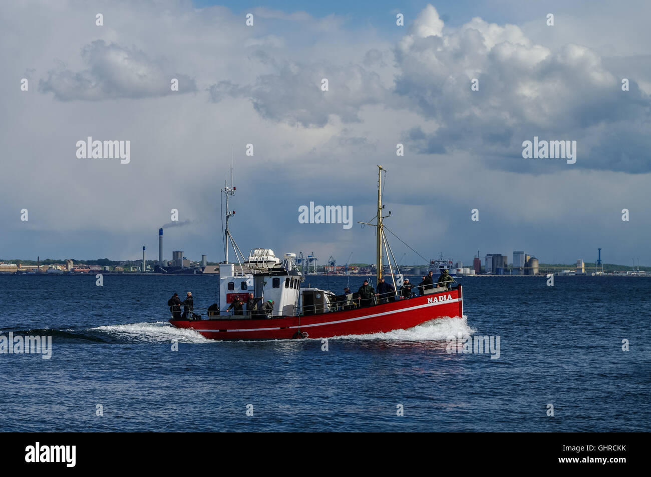 Helsingborg, Denmark  - 1 may 2011: Fishing boat near Helsingborg city in strait between  Denmark and Sweden. - Stock Image