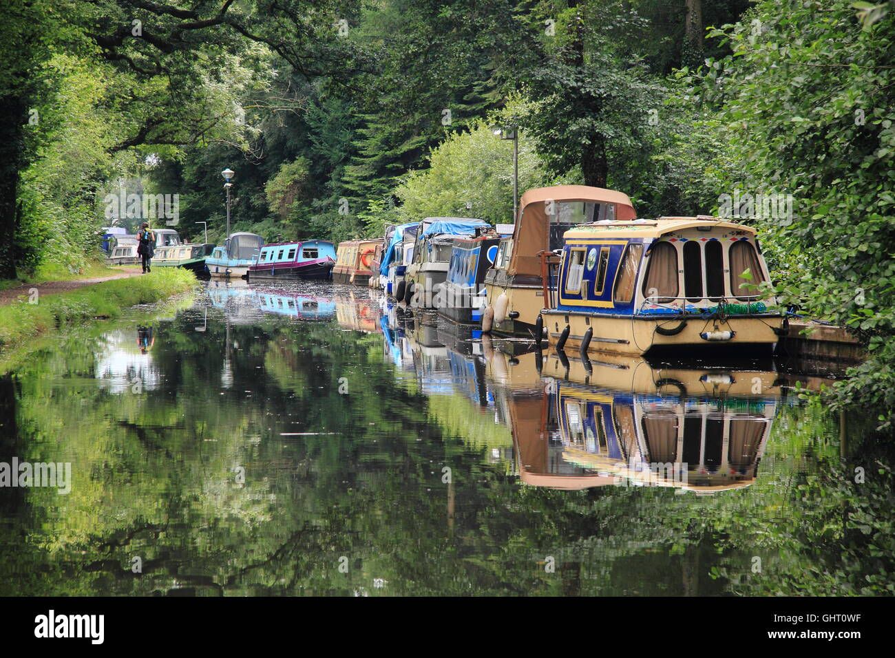 Narrowboats moored on the Monmouthshire and Brecon Canal at Goytre Wharf near Abergavenny, South Wales, Cymru, UK - Stock Image