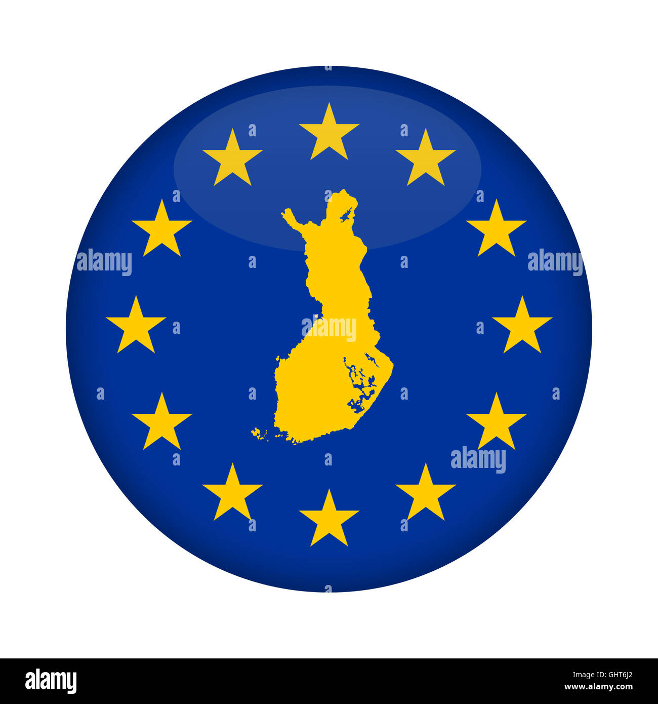 Finland map on a European Union flag button isolated on a white background. Stock Photo