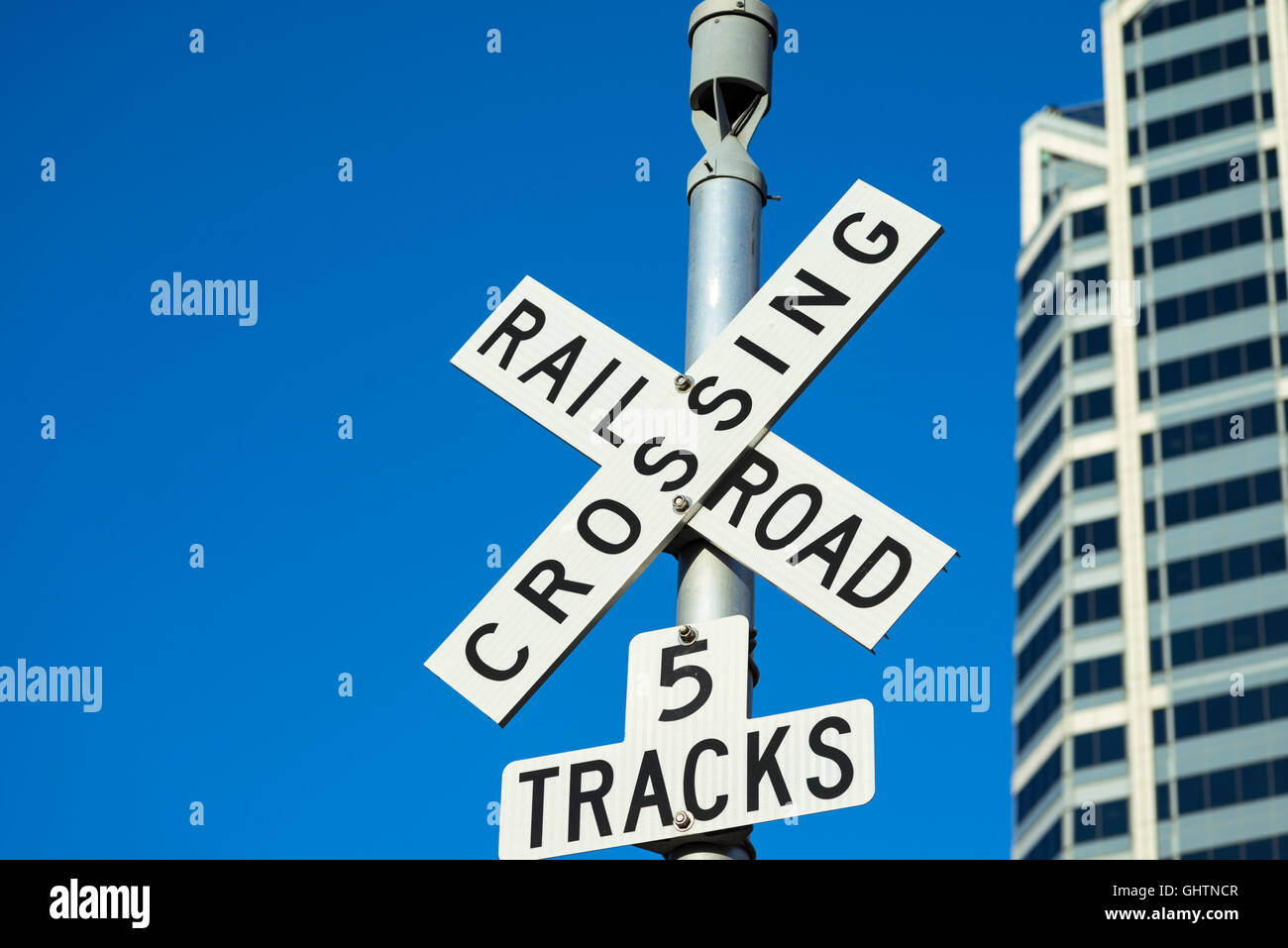 railroad crossing sign - Stock Image