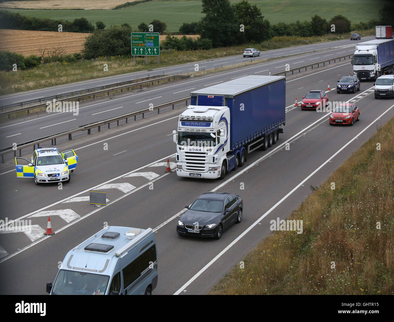 East Ilsley, West Berkshire, UK. 10th August, 2016. FOUR people have been killed and a dozen injured after an eight Stock Photo