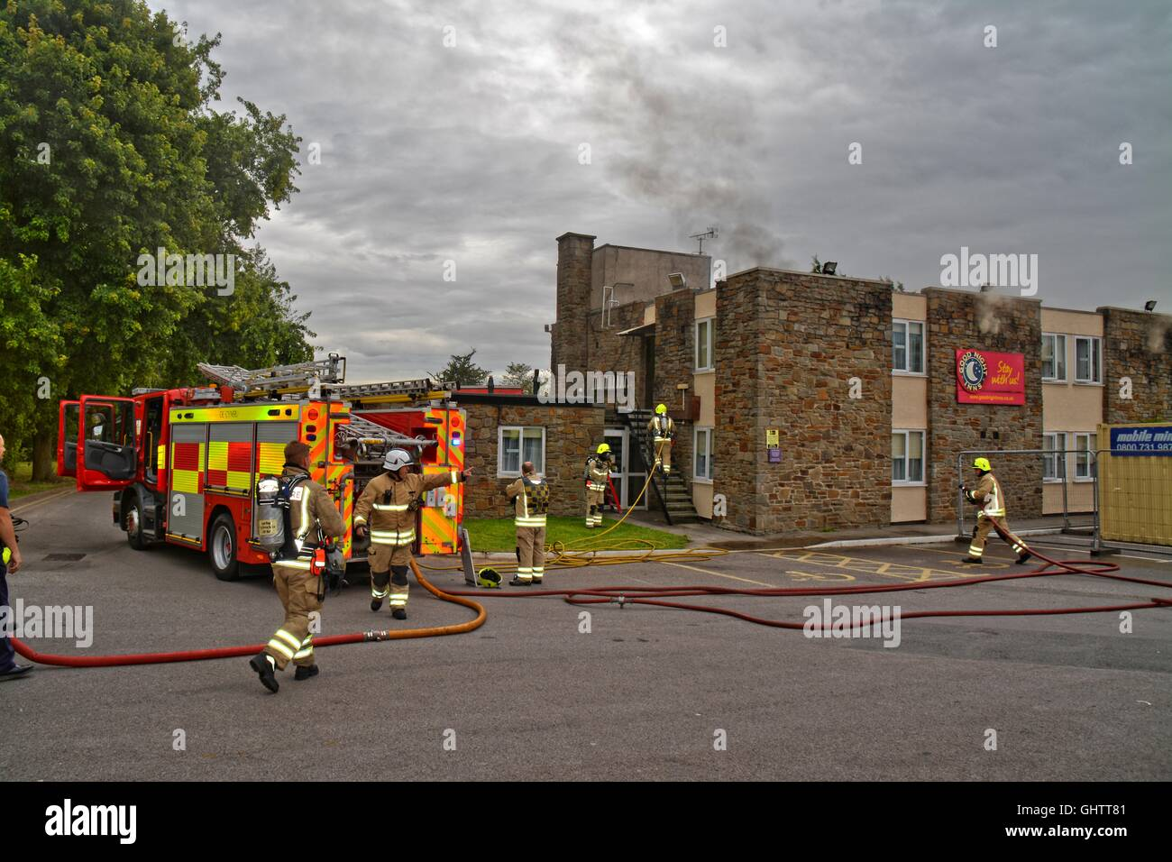 Newport, UK. 10th Aug, 2016. Fire outbreak at Good Night Inns Hotel, Newport - 2.50pm; Newport, Hotel Fire, Good - Stock Image