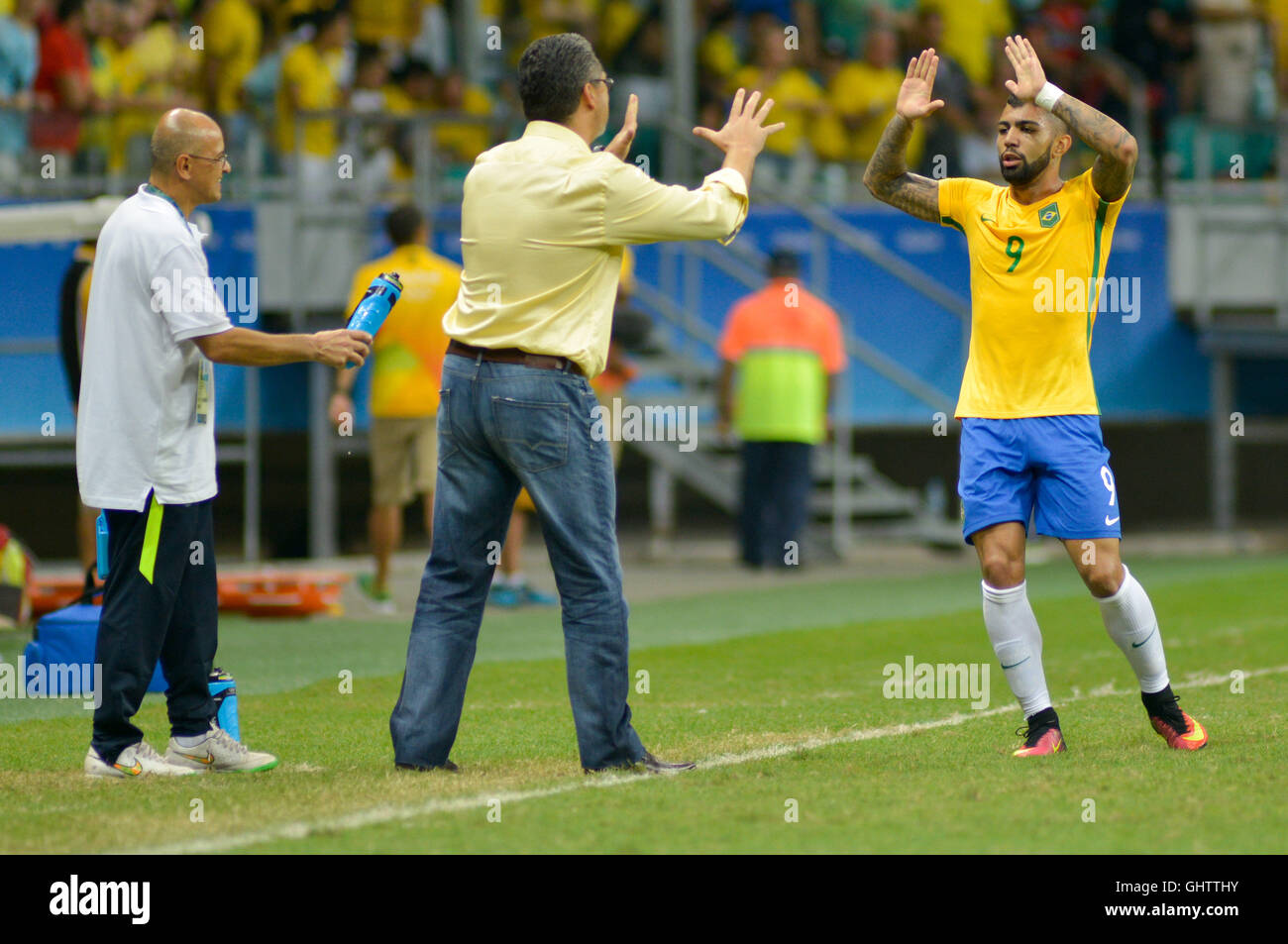 Salvador, Brazil. 10th August, 2016. OLYMPICS 2016 FOOTBALL SALVADOR - Match between Brazil (BRA) and Denmark (DIN) Stock Photo